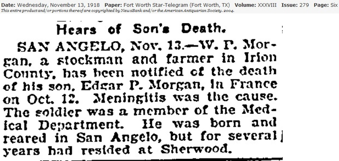 Hears of Sons Death - Edgar P. Morgan