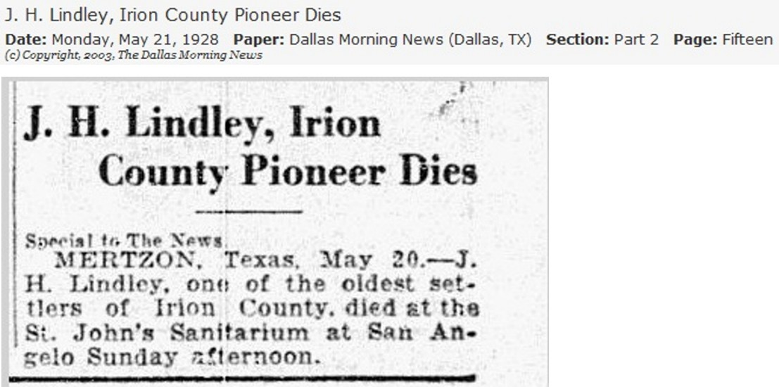 J.H. Lindley Obit May 21 1928