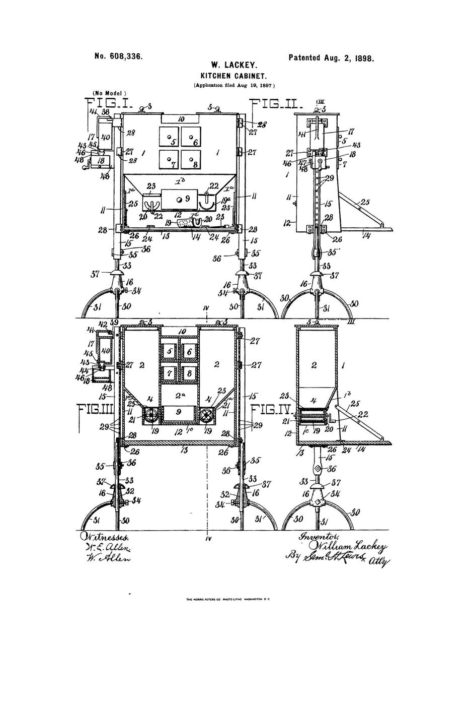William Lackey - Kitchen Cabinet Patent Drawing